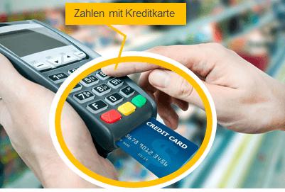 Kreditkartenlesegerät mit Kreditkarte